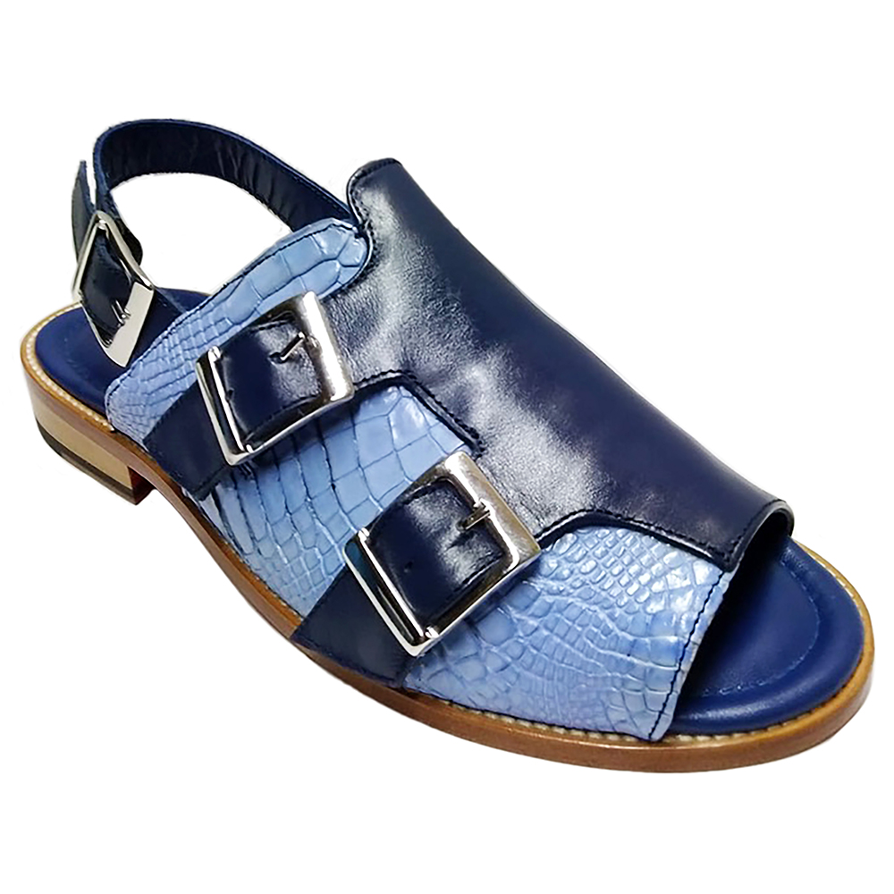 Fennix Leo Leather & Alligator Sandals Navy / L. Blue Image