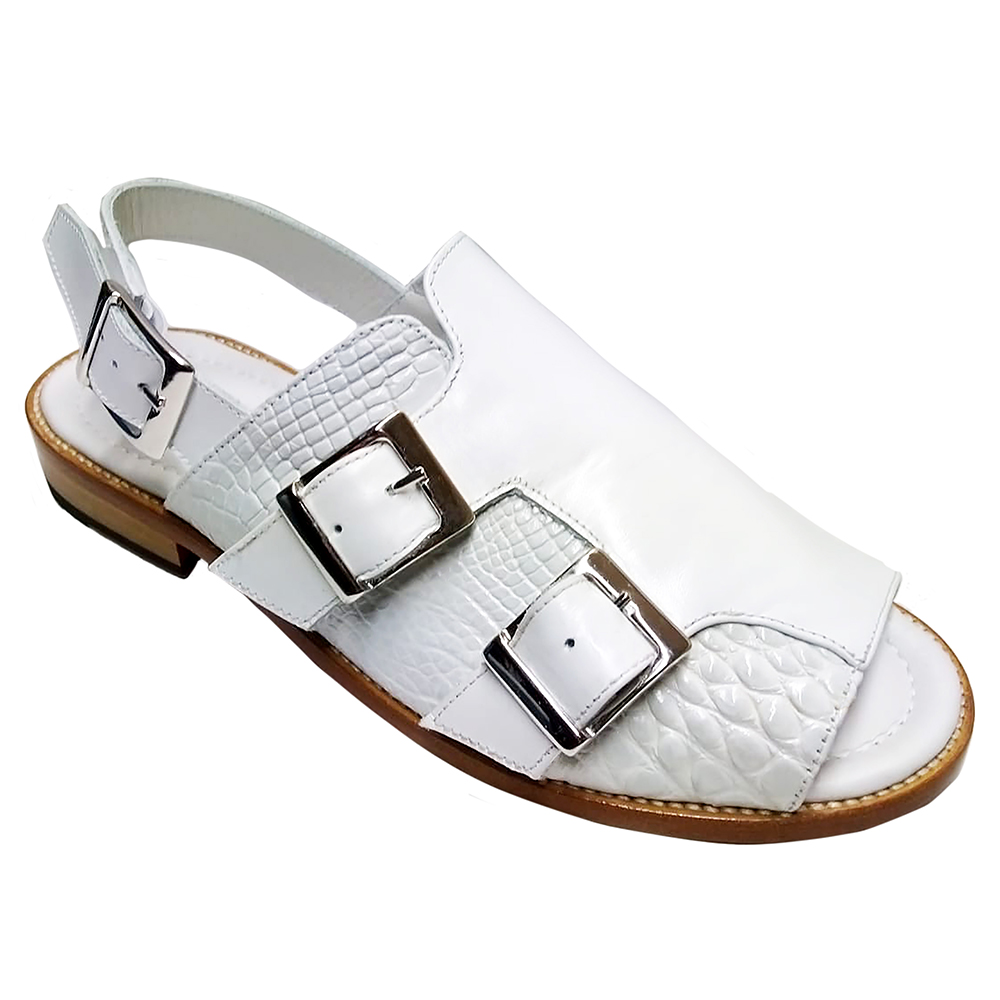 Fennix Leo Leather & Alligator Sandals White Image