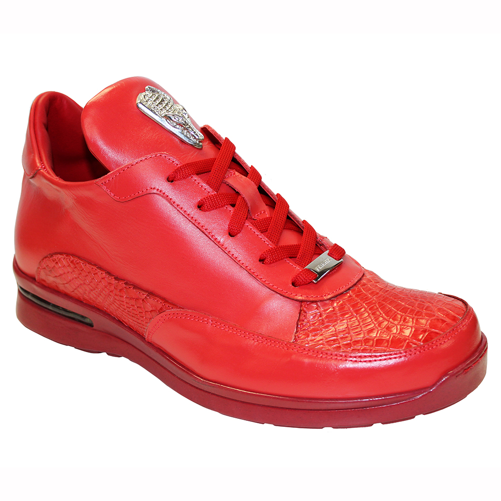 Fennix Lewis Leather & Alligator Sneakers Red Image