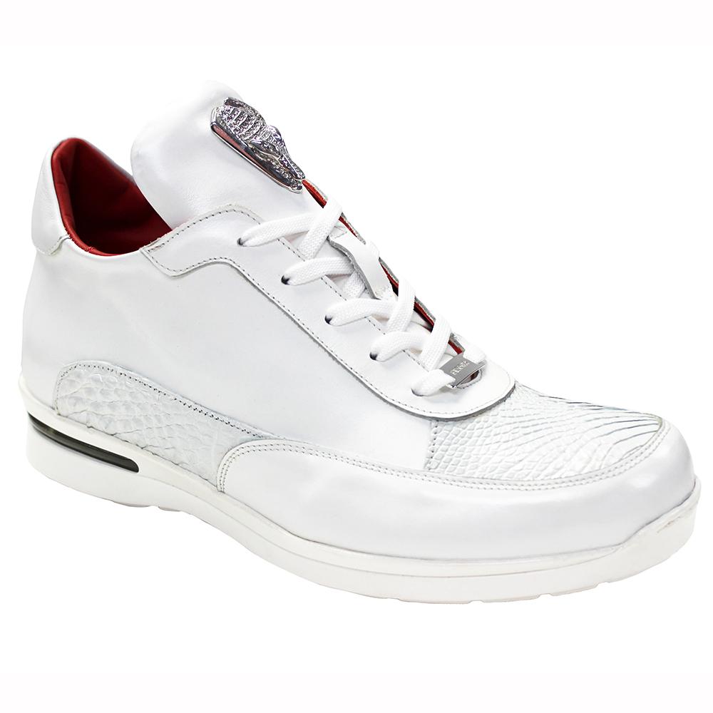 Fennix Lewis Leather & Alligator Sneakers White Image