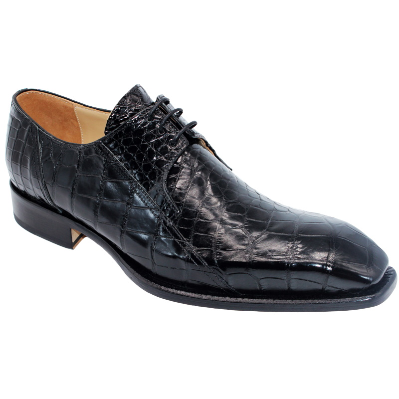 Fennix Logan Alligator Derby Shoes Black Image