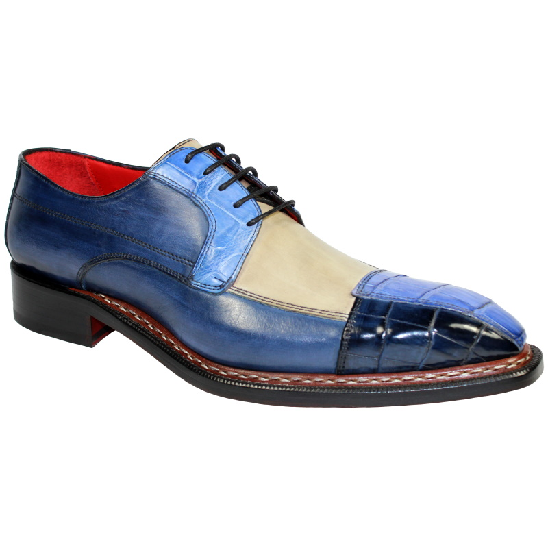 Fennix Lucas Alligator & Calfskin Shoes Tri Tone Blue Image