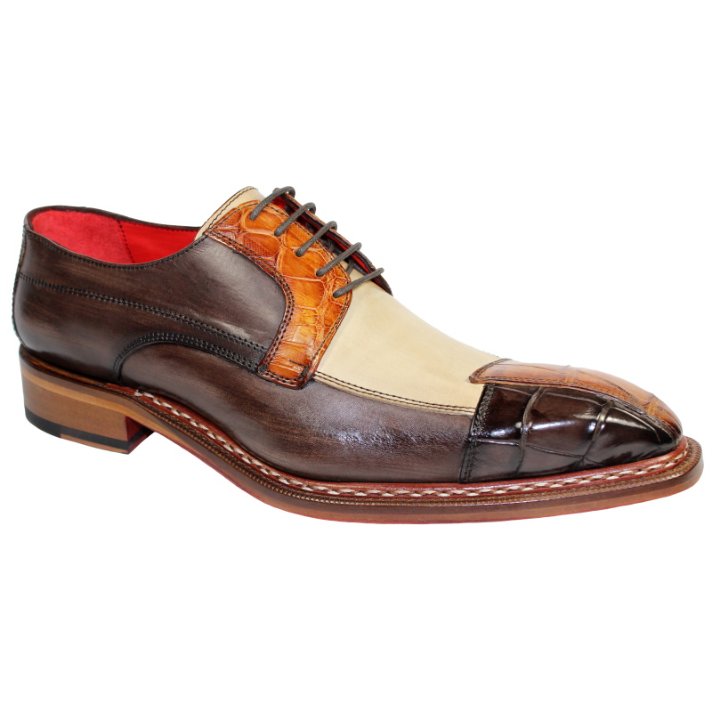 Fennix Lucas Alligator & Calfskin Shoes Tri Tone Brown Image