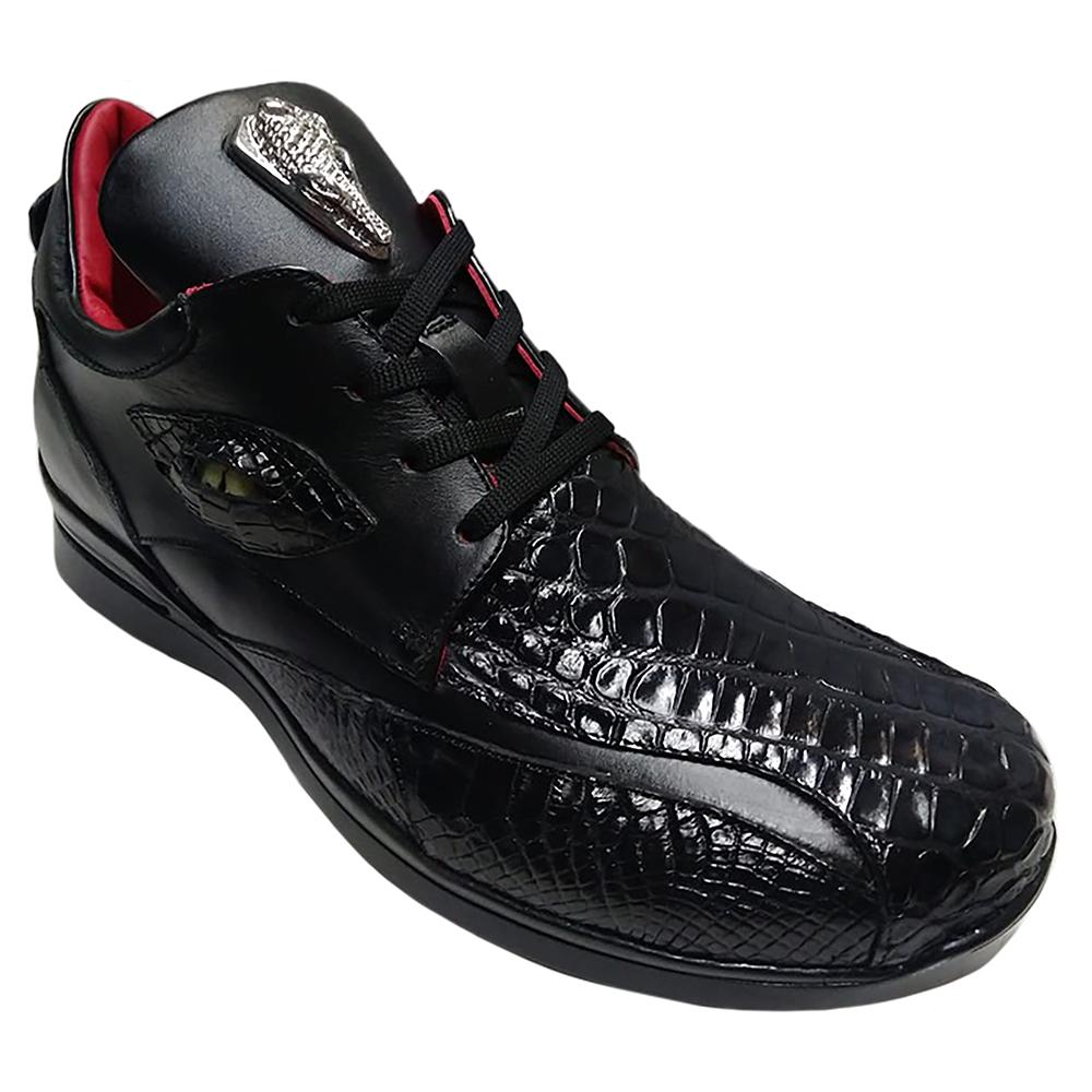 Fennix Mason Leather & Alligator Sneakers Black Image