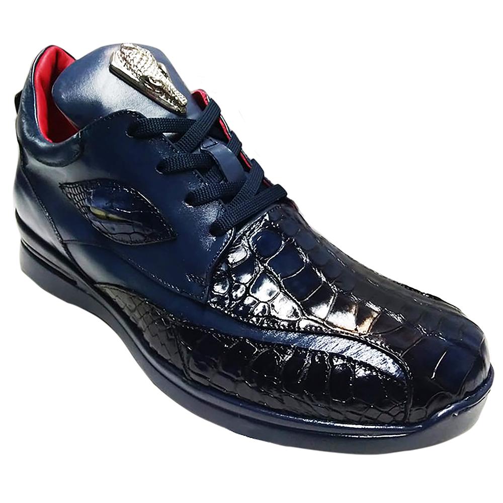 Fennix Mason Leather & Alligator Sneakers Navy Image