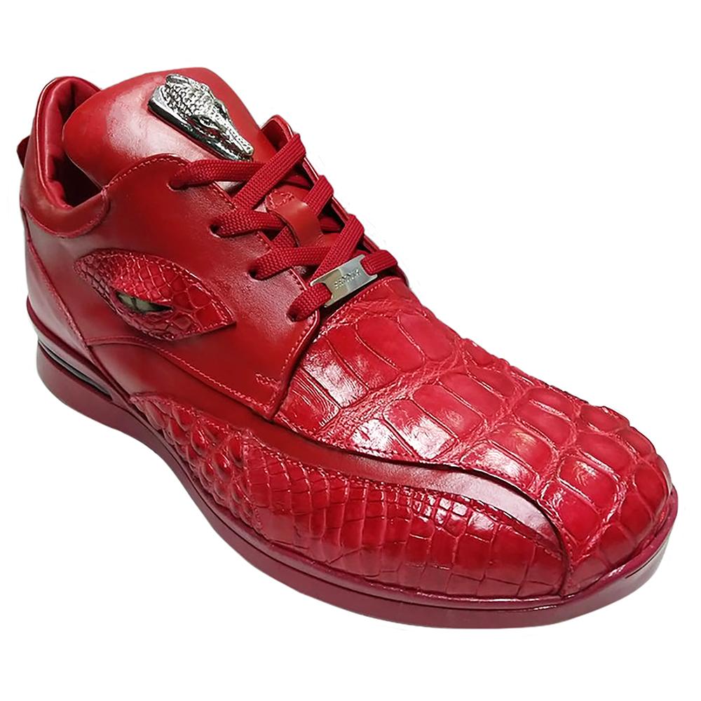 Fennix Mason Leather & Alligator Sneakers Red Image