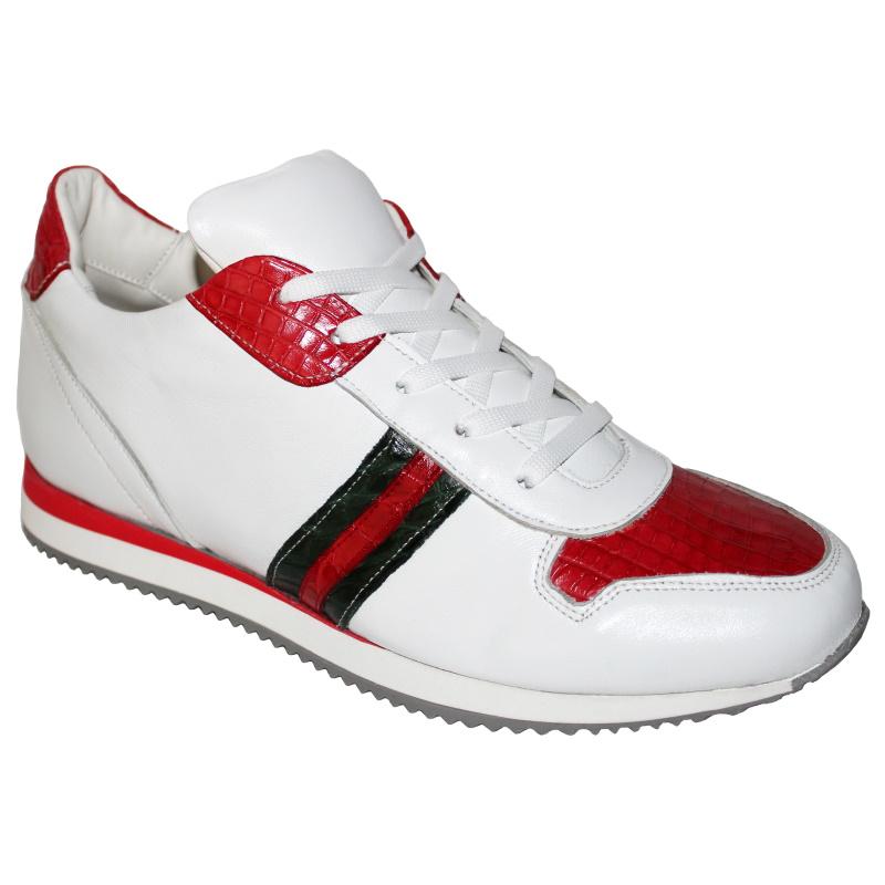 Fennix Samuel Alligator & Calfskin Sneakers White / Green / Red Image