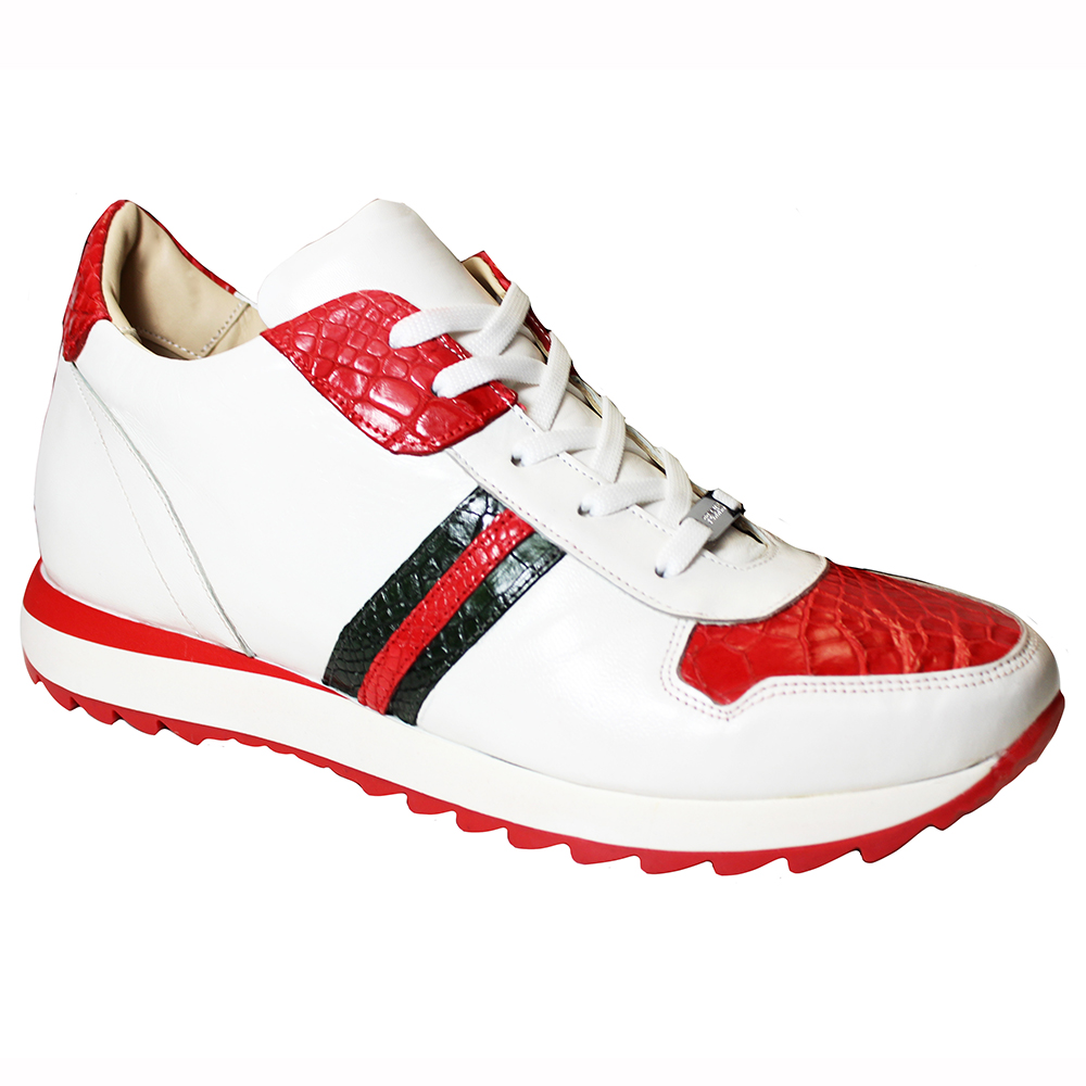 Fennix Samuel Leather & Alligator Sneakers White / Red / Green Image