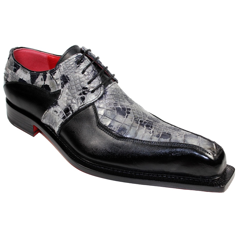 Fennix Theo Calf and Alligator Lace-up Shoes Black Multi Image