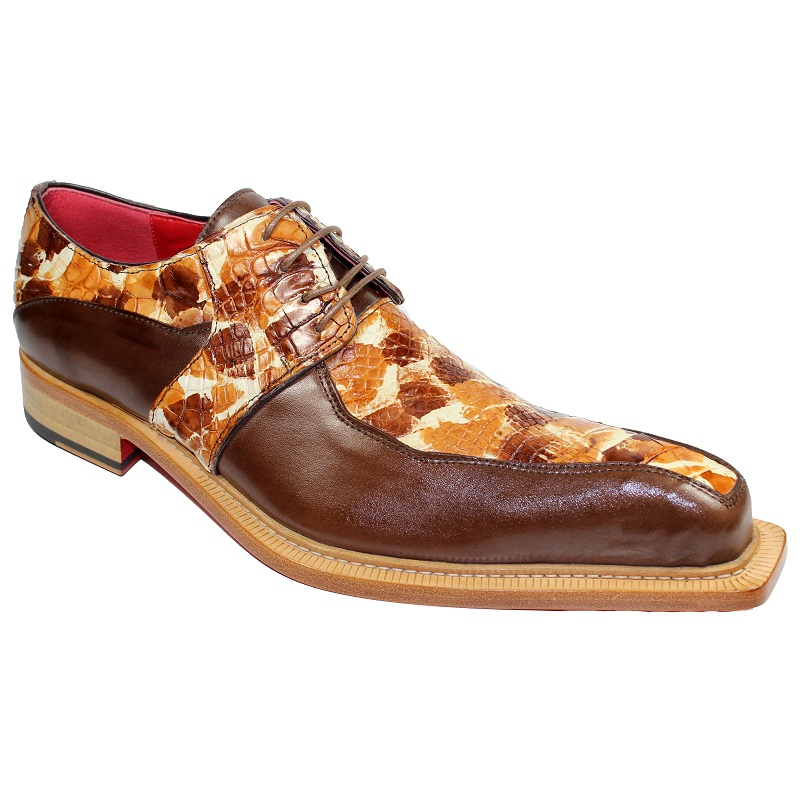 Fennix Theo Calf and Alligator Lace-up Shoes Brown Multi Image