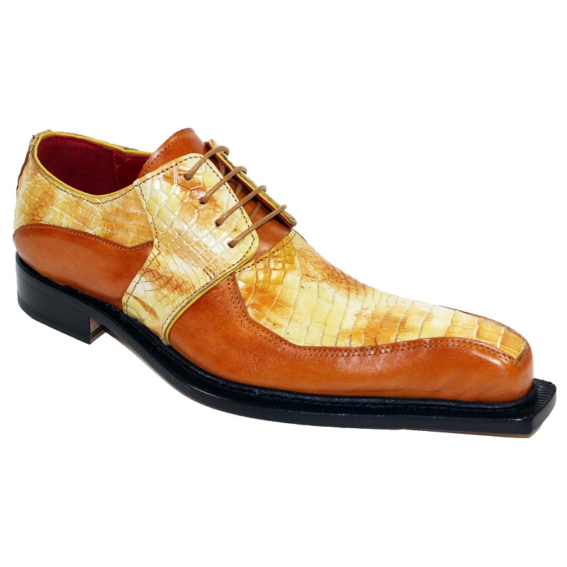 Fennix Theo Calf and Alligator Lace-up Shoes Mustard Multi Image