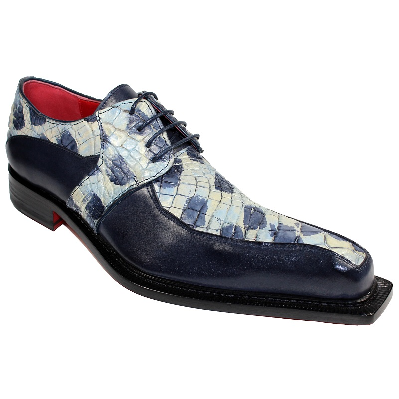Fennix Theo Calf and Alligator Lace-up Shoes Navy Multi Image