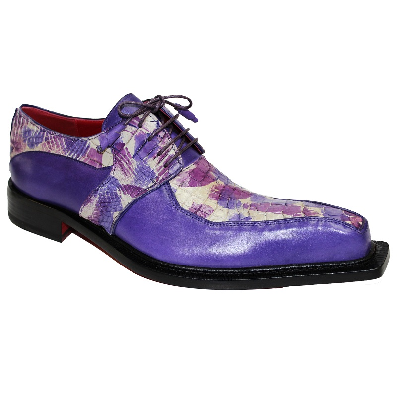 Fennix Theo Calf and Alligator Lace-up Shoes Purple Multi Image