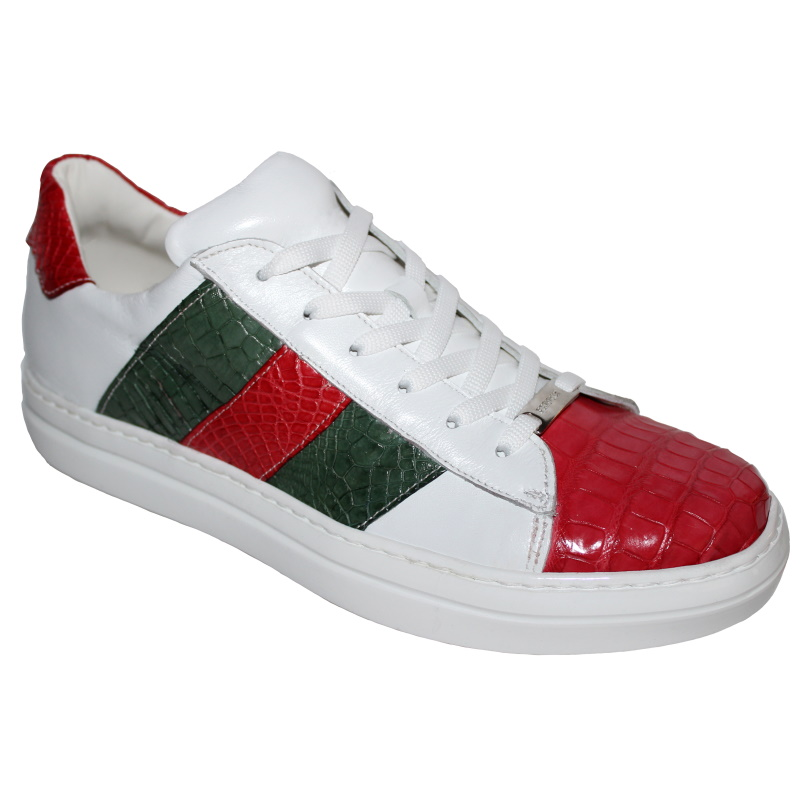 Fennix Toby Alligator & Calfskin Sneakers White / Green / Red Image