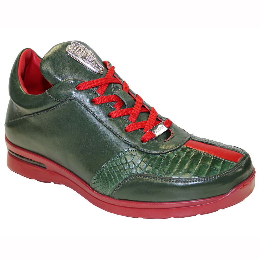 Fennix Tommy Leather & Alligator Sneakers Green / Red Image