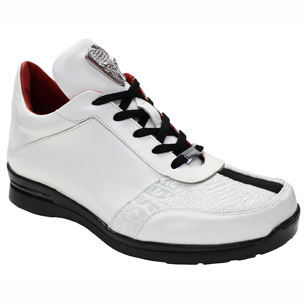 Fennix Tommy Leather & Alligator Sneakers White / Black Image