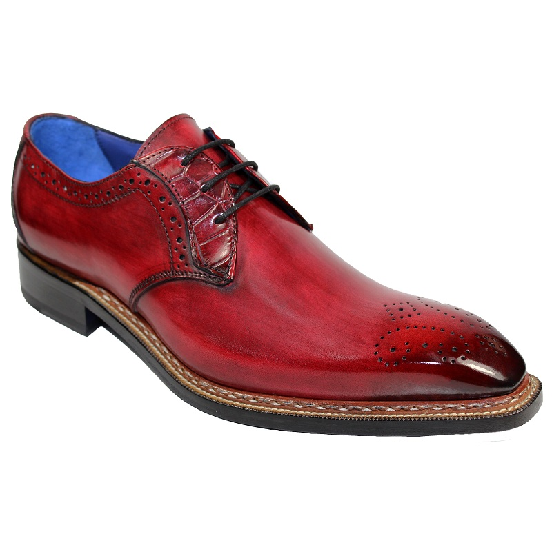 Fennix Tyler Calf and Alligator Lace-up Shoes Antique Red Image