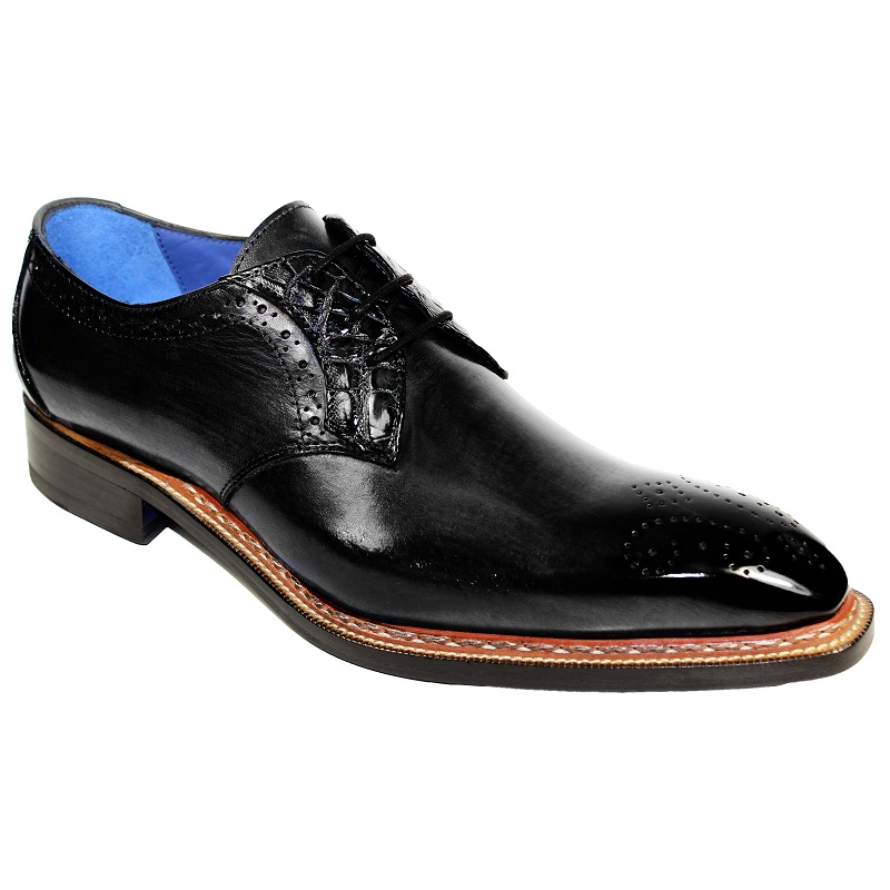 Fennix Tyler Calf and Alligator Lace-up Shoes Black Image