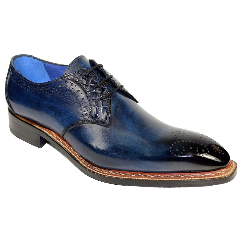 Fennix Tyler Calf and Alligator Lace-up Shoes Navy Image