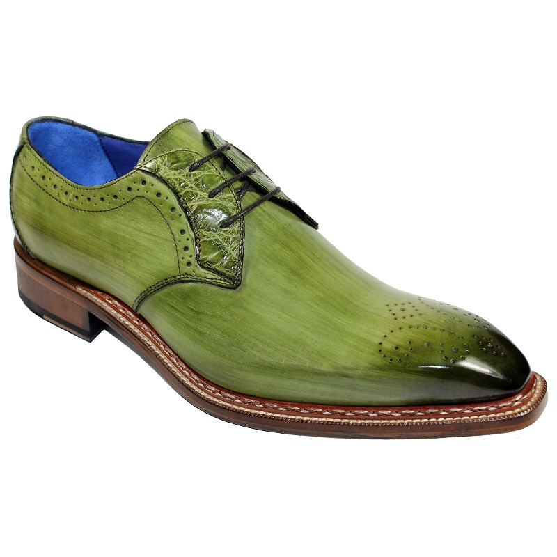 Fennix Tyler Calf and Alligator Lace-up Shoes Olive Image