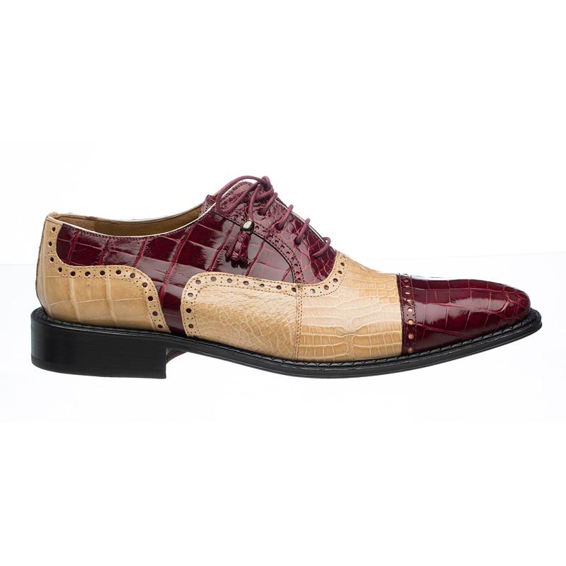 Ferrini 203 / 528 Alligator Cap Toe Shoes Burgundy / Tan Image