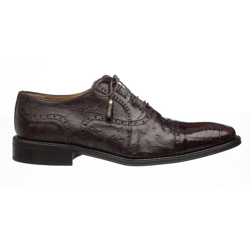 Ferrini 203 / 528 Alligator & Ostrich Quill Cap Toe Shoes Chocolate Image