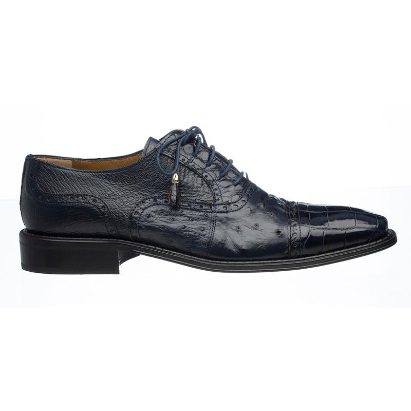 Ferrini 203 / 528 Alligator & Ostrich Quill Cap Toe Shoes Navy Image