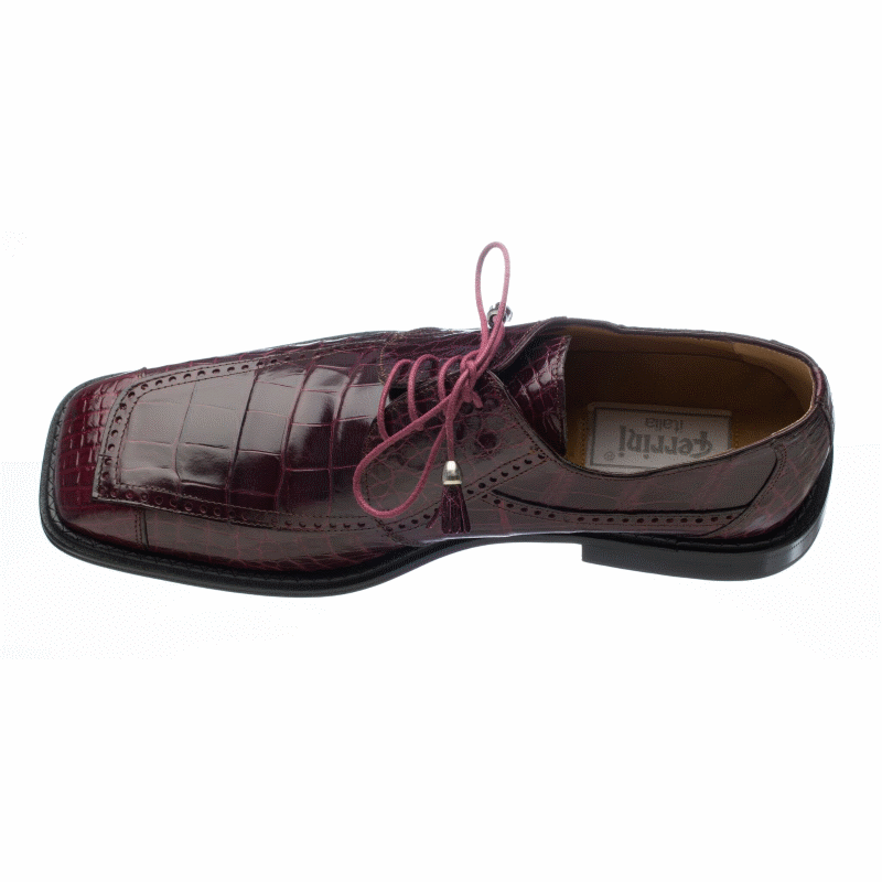 Ferrini 206 Alligator Square Toe Shoes Burgundy Image
