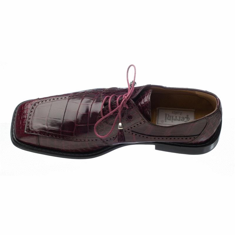 Ferrini 206 Alligator Square Toe Shoes Burgundy Image