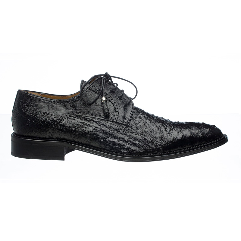 Ferrini 214M Ostrich Quill Lace Up Shoes Black Image