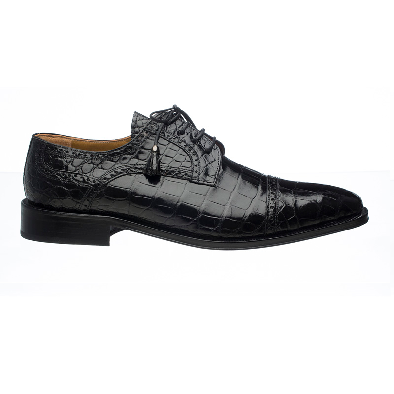 Ferrini 216M Alligator Cap Toe Shoes Black Image