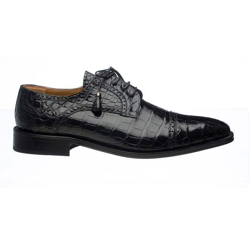 Ferrini 216M Alligator Cap Toe Shoes Black Image