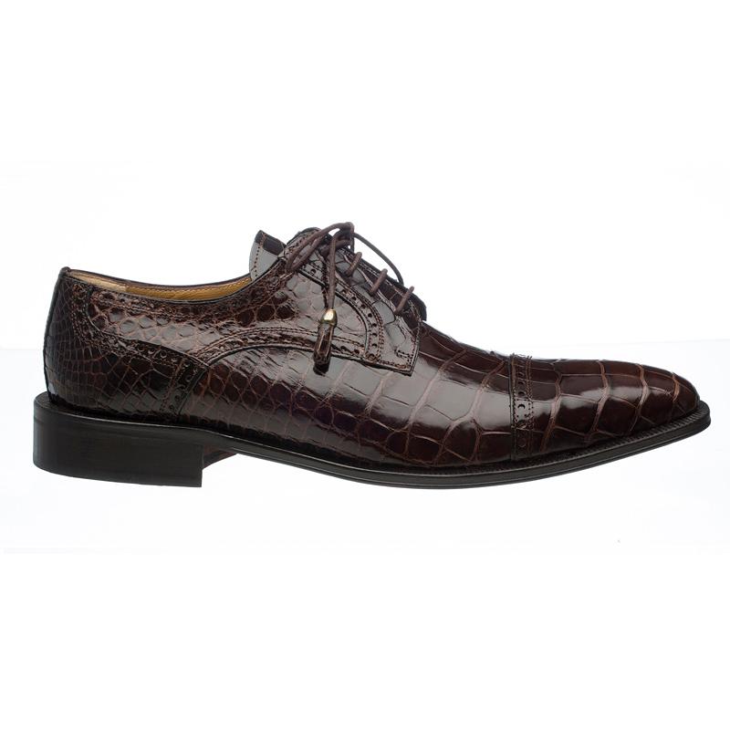 Ferrini 216M Alligator Cap Toe Shoes Chocolate Image