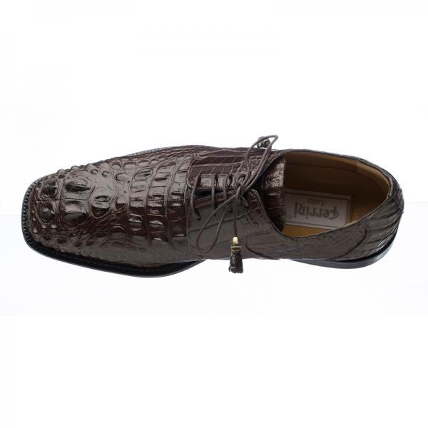 6e501e0f5b0 Ferrini 228 Hornback Alligator Square Toe Derby Shoes Chocolate ...