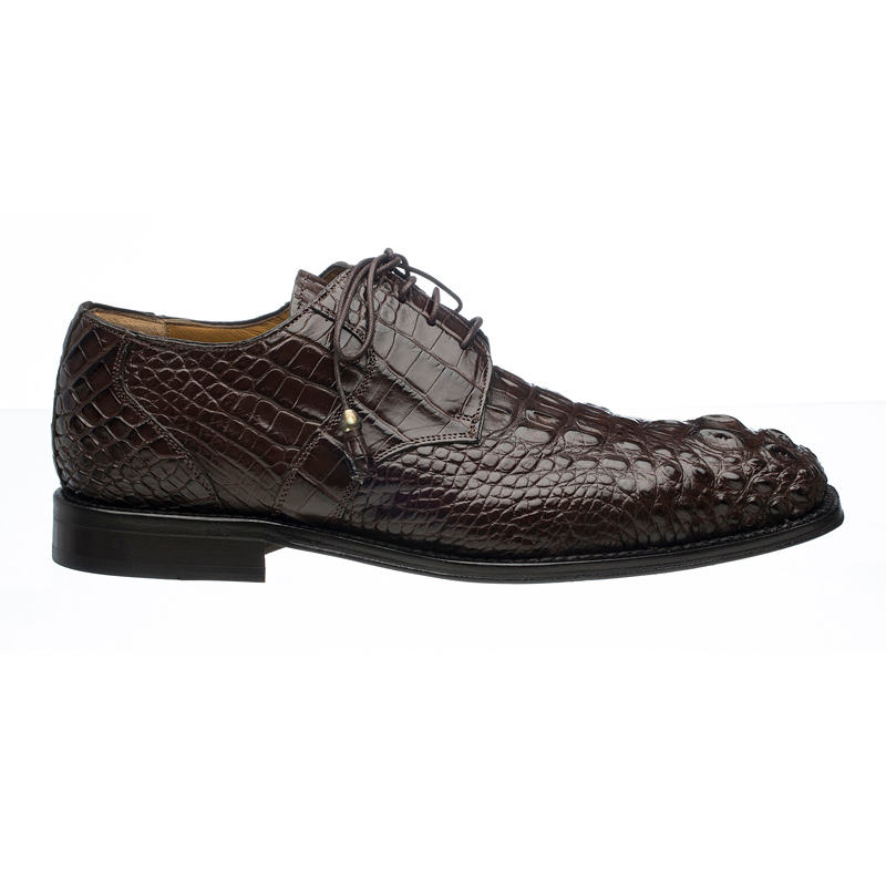 Ferrini 228 Hornback Alligator Square Toe Derby Shoes Chocolate Image