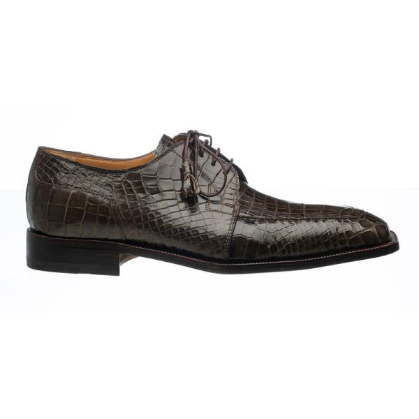 Ferrini 3678 Alligator Derby Square Toe Shoes Olive Image