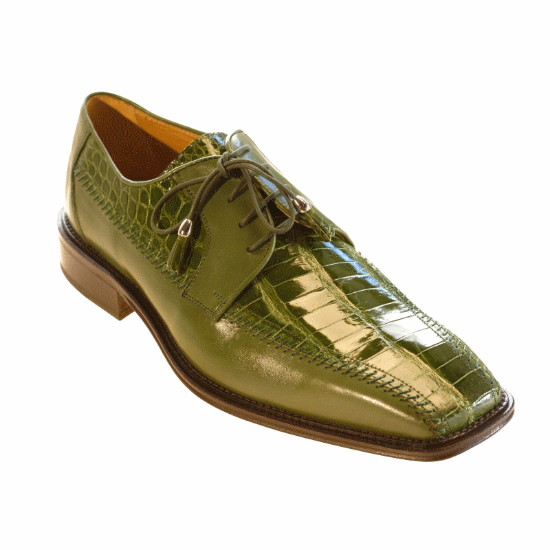 Ferrini 3746 Belly Caiman Calfskin Bicycle Toe Oasis Green Image