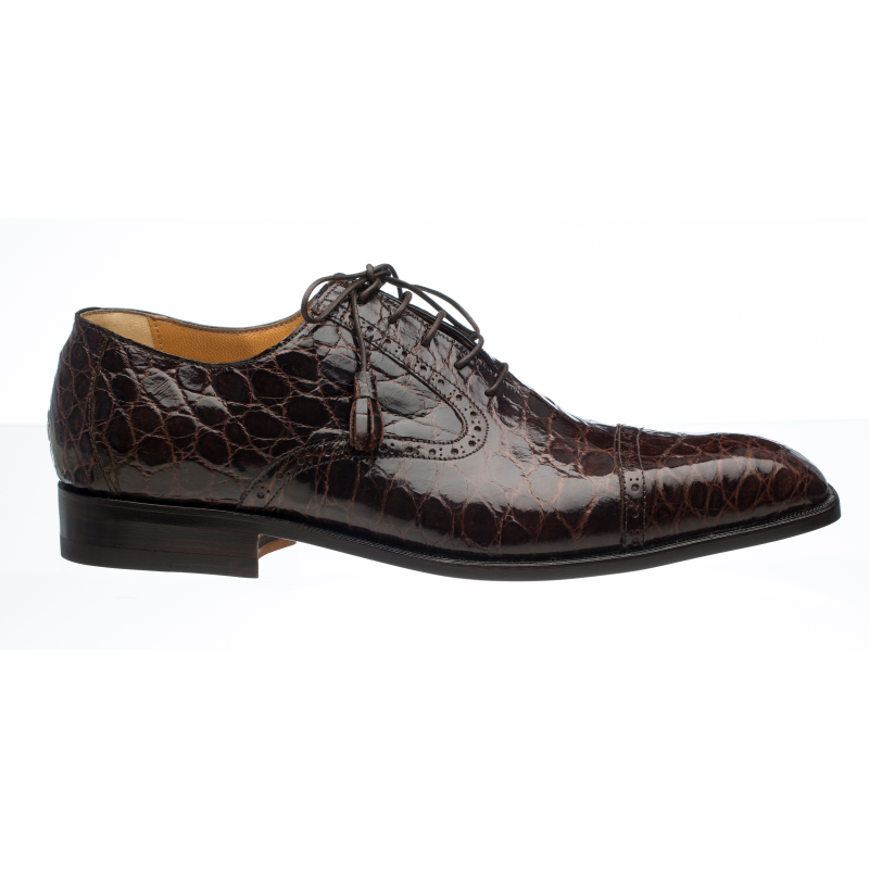 Ferrini 3922 Alligator Cap Toe Oxfords Chocolate Image