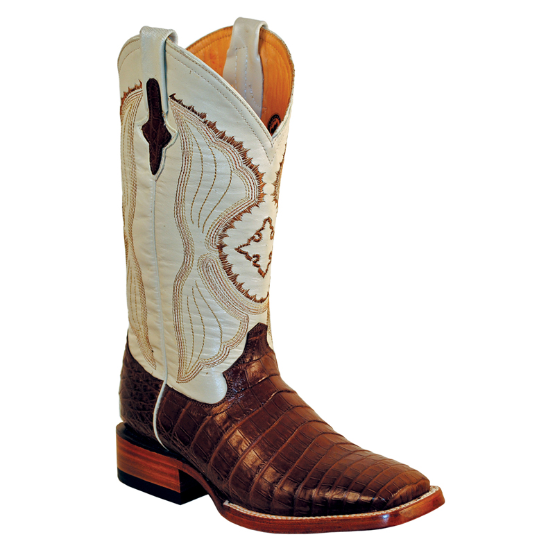 Ferrini Belly Caiman 12493-09 Exotic Boots Chocolate Image