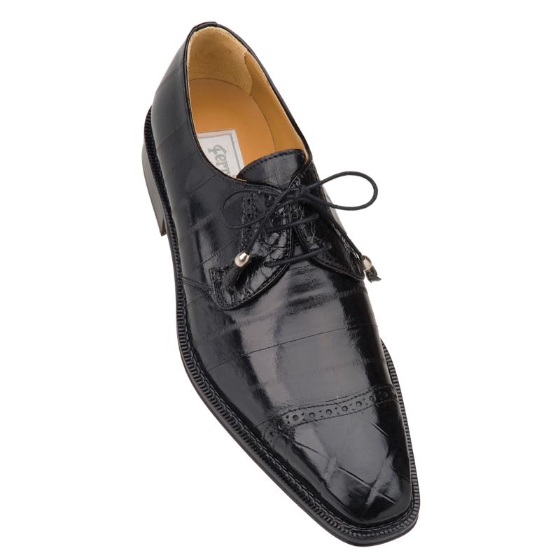 Ferrini F4089BL Alligator & Eel Cap Toe Shoes Black Image