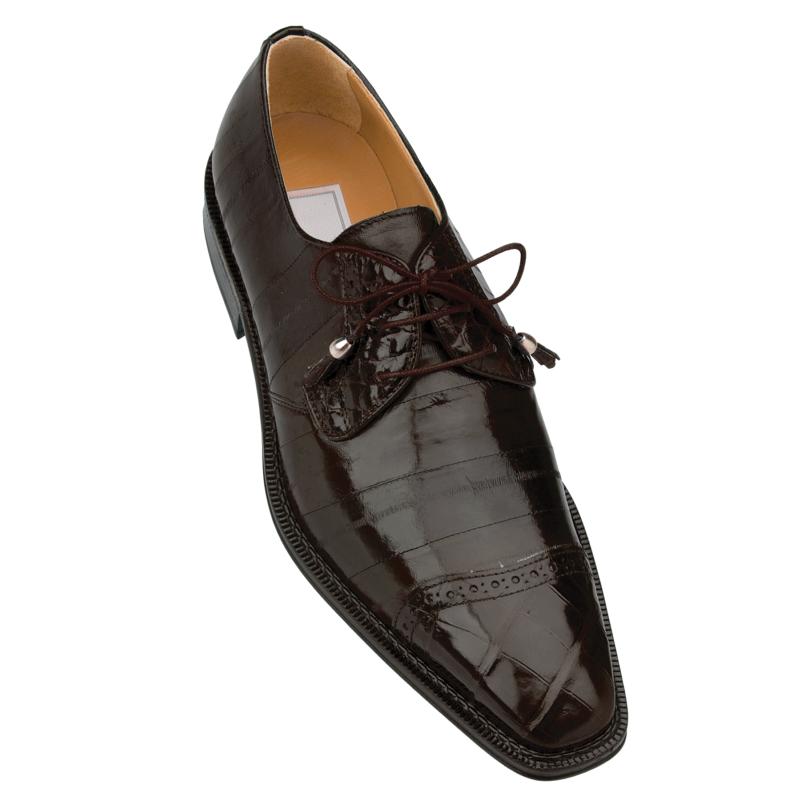 Ferrini F4089TM Alligator & Eel Cap Toe Shoes Chocolate Image