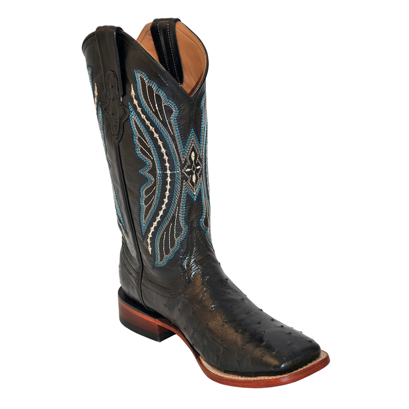 Ferrini Full Quill Ostrich 10193-04 Exotic Boots Black Image