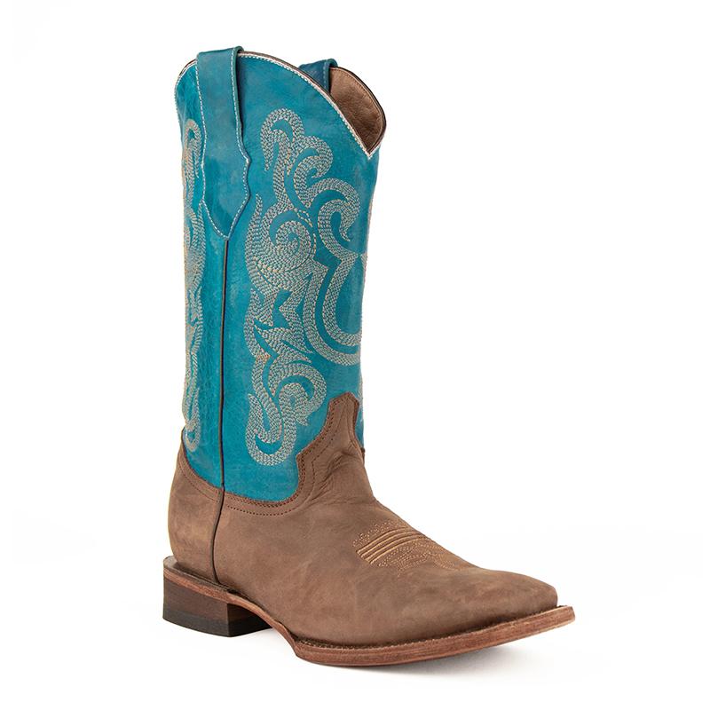 Ferrini Hunter 12693-50 Square Toe Boots Chocolate/Turquoise Image