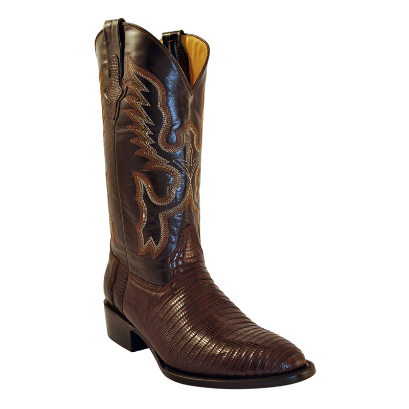 Ferrini Teju Lizard 11111-09 Exotic Boots Chocolate Image