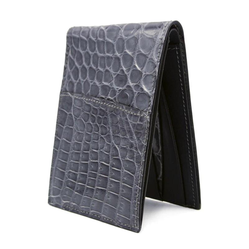 Gracen Nile Crocodile Bi-Fold Wallet Gray Image