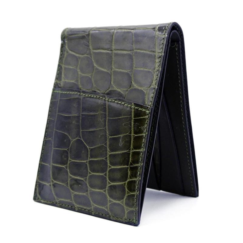 Gracen Nile Crocodile Bi-Fold Wallet Green Image