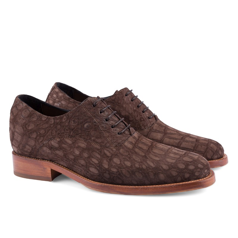 Guido Maggi Ibiza Baby Crocodile Suede Shoes Brown Image