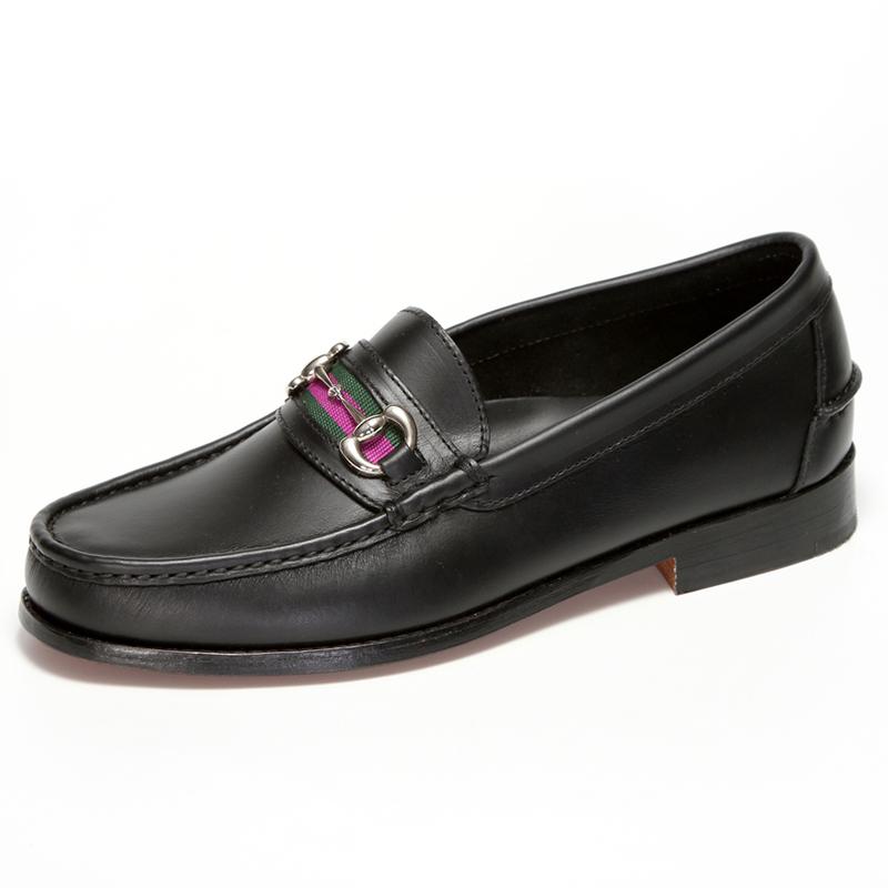 Handsewn Shoe Co. Bit Stripe Loafer Black Image