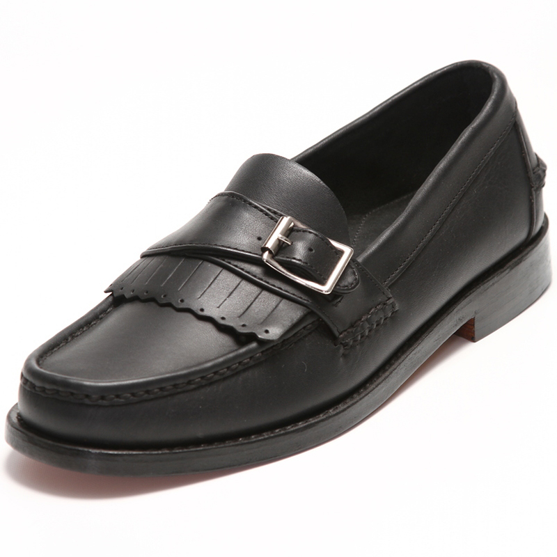 Handsewn Shoe Co. Buckle Kilt Loafer Black Image