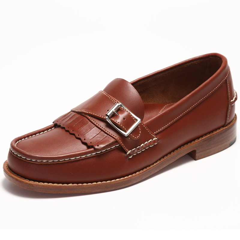 Handsewn Shoe Co. Buckle Kilt Loafer Brown Image